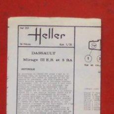 Maquetas: INSTRUCCIONES DE MONTAJE DEL MIRAGE III E/R - 5 B/A DE HELLER. ESCALA 1/72. Lote 206761876