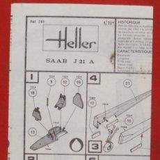 Maquetas: INSTRUCCIONES DE MONTAJE DEL SAAB J-21A DE HELLER. ESCALA 1/72. Lote 206762495