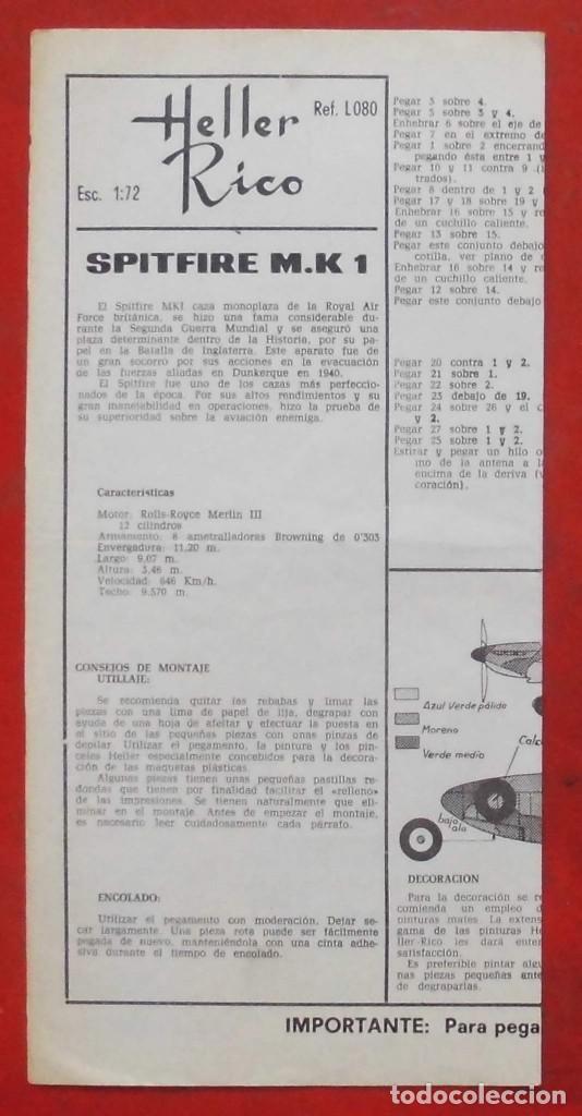 INSTRUCCIONES DE MONTAJE DEL SPITFIRE MK.I DE HELLER. ESCALA 1/72 (Juguetes - Modelismo y Radio Control - Maquetas - Aviones y Helicópteros)
