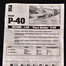 Maquetas: INSTRUCCIONES DE MONTAJE DEL CURTISS P-40 DE HOBBY CRAFT. ESCALA 1/48. Lote 206768147
