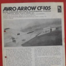 Maquetas: INSTRUCCIONES DE MONTAJE DEL AVRO CF-105 DE HOBBY CRAFT. ESCALA 1/72. Lote 206768442