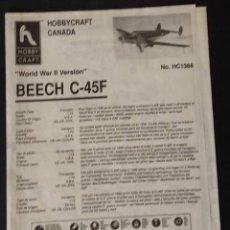 Maquetas: INSTRUCCIONES DE MONTAJE DEL BEECH C-45F DE HOBBY CRAFT. ESCALA 1/72. Lote 206768581