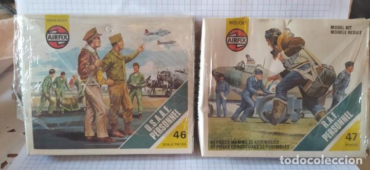 U. S. A. A. F / R. A. F. PERSONNEL DE AIRFIX. LOTE DE DOS CAJAS COMPLETAS Y SIN USAR. AÑOS 70 (Juguetes - Modelismo y Radiocontrol - Maquetas - Militar)