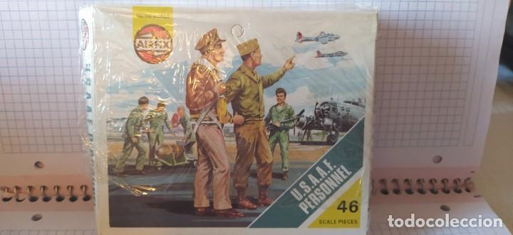 Maquetas: U. S. A. A. F / R. A. F. Personnel de airfix. Lote de dos cajas completas y sin usar. Años 70 - Foto 2 - 212935305