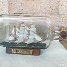 Maquettes: MINIATURA EN INTERIOR DE BOTELLA DE CRISTAL. DEL PRIMER BARCO PETROLERO INTERNACIONAL AÑO 1877. Lote 214308936