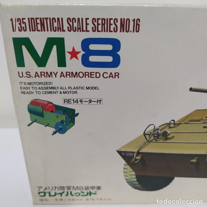 Maquetas: M8 armoured car grey Hound con motor eléctrico. Tamiya 1960.Nuevo sin abrir - Foto 2 - 216711075