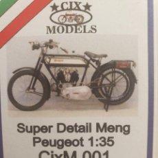 Maquettes: MAGNÍFICA Y RARA MAQUETA CIX MODELS 1/35 PEUGEOT 1917 MOTORCYCLE SUPER DETAIL SET WWI,. Lote 217015003