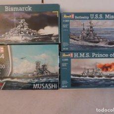 Maquetas: 4 MAQUETAS - REVELL ACORAZADOS, MUSASHI, MISSOURI, BISMARCK, PRINCE OF WALES 1/1200. Lote 218273590