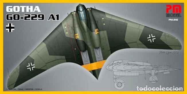 MAQUETA DEL PROTOTIPO ALA VOLANTE A REACCIÓN GOTHA (HORTEN) GO-229A1 DE PM MODEL A 1/72 (Juguetes - Modelismo y Radio Control - Maquetas - Aviones y Helicópteros)