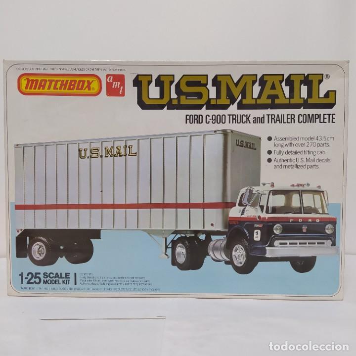 U. S.MAIL FORD C900 TRUCK AND TRAILER COMPLETE 1/25 AMT/ MATCHBOX. NUEVO Y COMPLETO. (Juguetes - Modelismo y Radiocontrol - Maquetas - Coches y Motos)
