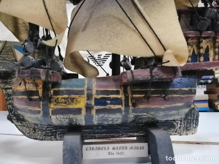 Maquetas: CARABELA SANTA MARÍA * MAQUETA BARCO VELERO DE ÉPOCA A ESCALA CON PEANA * Medidas: 33x35cm - Foto 5 - 221272088