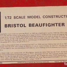Maquetas: INSTRUCCIONES DE MONTAJE DEL BRISTOL BEAUFIGHTER T.F.X DE AIRFIX. ESCALA 1/72. Lote 221892537