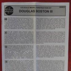 Maquetas: INSTRUCCIONES DE MONTAJE DEL DOUGLAS BOSTON III DE AIRFIX. ESCALA 1/72. Lote 221896107