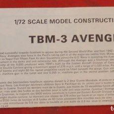 Maquetas: INSTRUCCIONES DE MONTAJE DEL GRUMMAN TBM3-3 AVENGER DE AIRFIX. ESCALA 1/72. Lote 221896688