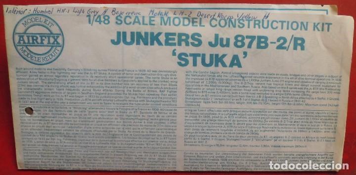 INSTRUCCIONES DE MONTAJE DEL JUNKERS JU-87 B-2.R DE AIRFIX. ESCALA 1/72 (Juguetes - Modelismo y Radio Control - Maquetas - Aviones y Helicópteros)