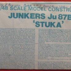 Maquetas: INSTRUCCIONES DE MONTAJE DEL JUNKERS JU-87 B-2.R DE AIRFIX. ESCALA 1/72. Lote 221908007