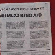 Maquetas: INSTRUCCIONES DE MONTAJE DEL MIL MI-24 DE AIRFIX.ESCALA 1/72. Lote 221908471