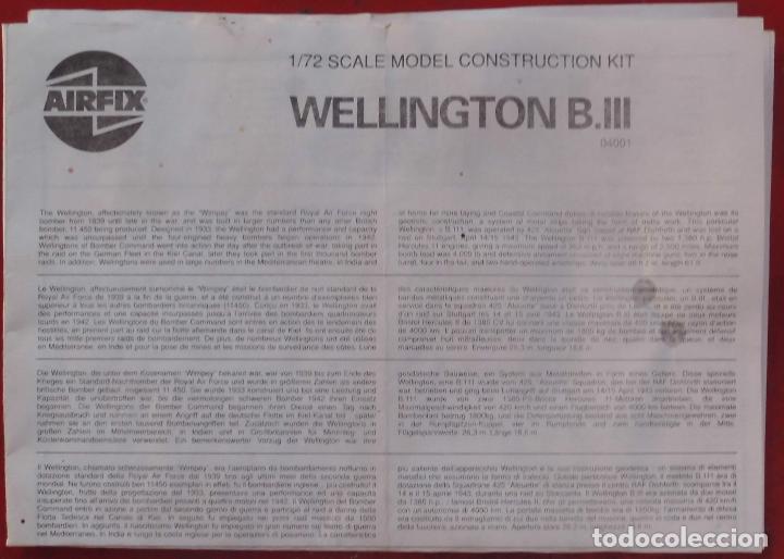 INSTRUCCIONES DE MONTAJE DEL VICKERS WELLINGTON B.III DE AIRFIX. ESCALA 1/72 (Juguetes - Modelismo y Radio Control - Maquetas - Aviones y Helicópteros)