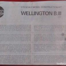 Maquetas: INSTRUCCIONES DE MONTAJE DEL VICKERS WELLINGTON B.III DE AIRFIX. ESCALA 1/72. Lote 221909433