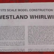 Maquetas: INSTRUCCIONES DE MONTAJE DEL WESTLAND WIRLWIND MK.I DE AIRFIX ESCALA 1/72. Lote 221909761