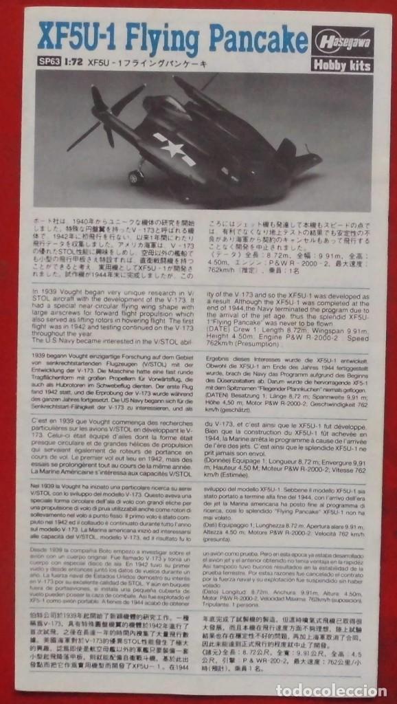 INSTRUCCIONES DE MONTAJE DEL VOUGHT XF5U-1 DE HASEGAWA. ESCALA 1/72 (Juguetes - Modelismo y Radio Control - Maquetas - Aviones y Helicópteros)