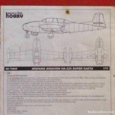 Maquetas: INSTRUCCIONES DE MONTAJE DEL HISPANO AVIACION HA-220 DE SPECIAL HOBBY. ESCALA 1/72. Lote 222853067