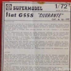 Maquetas: INSTRUCCIONES DE MONTAJE DEL FIAT G.55 DE SUPERMODEL. ESCALA 1/72. Lote 222853080