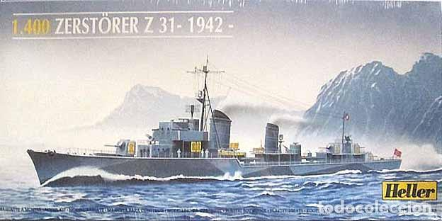 MAQUETA DEL DESTRUCTOR ALEMÁN 2ª GUERRA MUNDIAL Z 31 (V. 1942) DE HELLER A ESCALA 1/400 (Juguetes - Modelismo y Radiocontrol - Maquetas - Barcos)