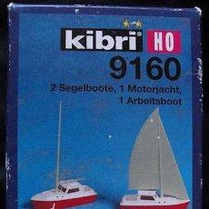 Maquetas: KIBRI HO 9160 - 2 VELEROS, 1 YATE Y 1 BARCO - MADE IN GERMANY - DESCATALOGADO - NUEVO EN SU CAJA. Lote 226003392