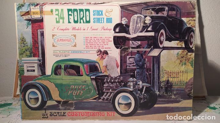 34 FORD STOCK STREET ROD 1/25 AURORA. 2 MODEL IN 1. AÑO 1963 . NUEVO SIN MONTAR. COMPLETO (Juguetes - Modelismo y Radiocontrol - Maquetas - Coches y Motos)