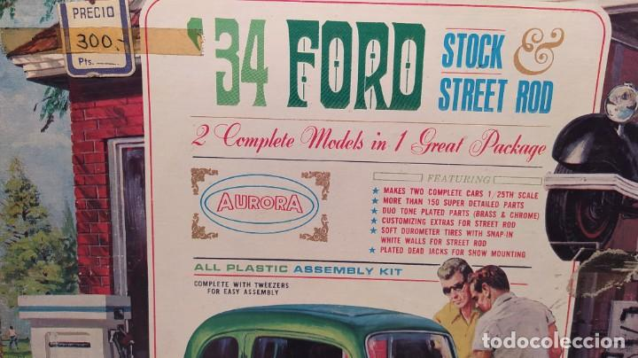 Maquetas: 34 Ford stock street rod 1/25 Aurora. 2 model in 1. Año 1963 . Nuevo sin montar. Completo - Foto 2 - 229239590