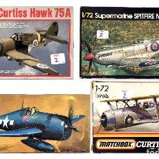 Maquetas: AVIONES LOTE 4 MAQUETAS CURTISS HAWK 75A SUPERMARINE SPITFIRE MK XVI E GRUMMAN F6F-375 HELLCAT SBC-4. Lote 230800100