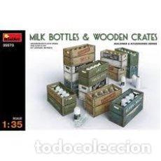 Maquetas: MINIART - MILK BOTTLES & WOODEN CRATES 1/35 35573. Lote 236460265