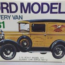Maquetas: 1931 FORD MODEL A DELIVERY VAN GAKKEN. ESCALA 1/16.NUEVO, TODO PRECINTADO. RAREZA. Lote 244019355