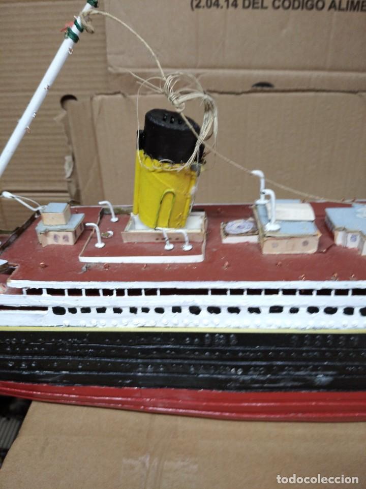 Maquetas: Enorme maqueta del Titanic. Fabricada artesanalmente. Para restaurar. Faltan piezas. - Foto 4 - 247731110