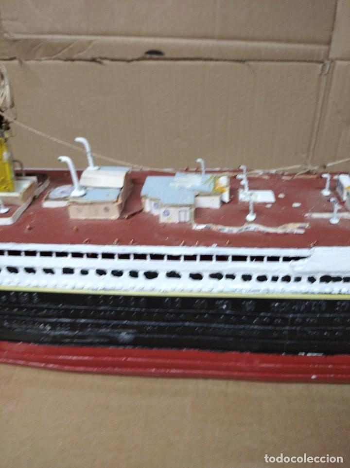Maquetas: Enorme maqueta del Titanic. Fabricada artesanalmente. Para restaurar. Faltan piezas. - Foto 5 - 247731110