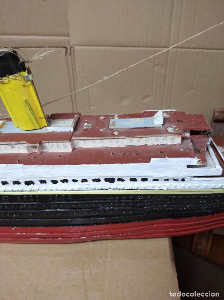 Maquetas: Enorme maqueta del Titanic. Fabricada artesanalmente. Para restaurar. Faltan piezas. - Foto 7 - 247731110