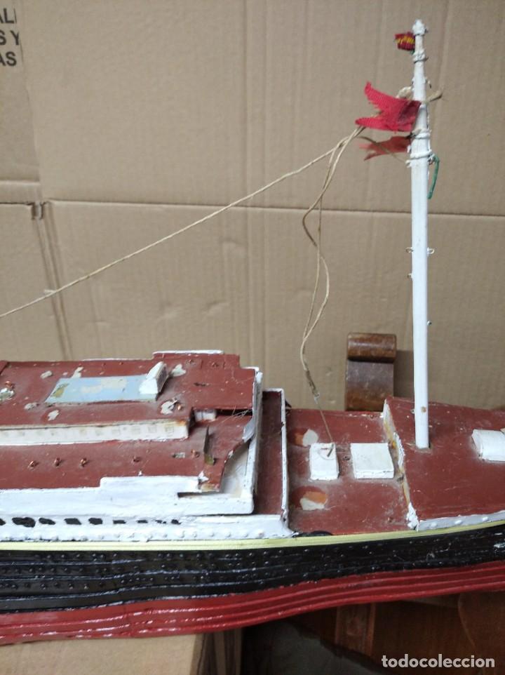 Maquetas: Enorme maqueta del Titanic. Fabricada artesanalmente. Para restaurar. Faltan piezas. - Foto 8 - 247731110