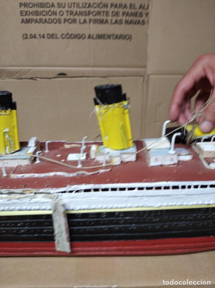 Maquetas: Enorme maqueta del Titanic. Fabricada artesanalmente. Para restaurar. Faltan piezas. - Foto 14 - 247731110