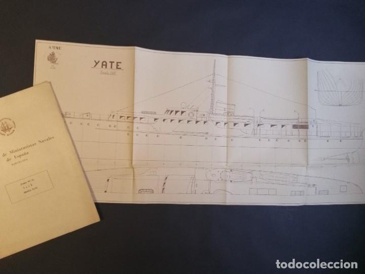 YATE - PLANO DE BARCO - MODELISMO NAVAL - AGRUPACIÓN DE MINIATURISTAS NAVALES DE ESPAÑA - MAQUETAS (Juguetes - Modelismo y Radiocontrol - Maquetas - Barcos)