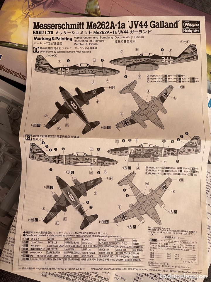 Maquetas: MESSERSCHMITT Me-262A-1a JV44 Galland 1:72 HASEGAWA 02875 maqueta avion - Foto 2 - 261922980