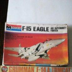 Maquetas: DOS MAQUETAS F-15 EAGLE, F-14A TOMCAT, AIRFIX Y MONOGRAM. Lote 262946520