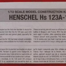 Maquetas: INSTRUCCIONES DE MONTAJE DEL HENSCHEL HS-123 A-1 DE AIRFIX. ESCALA 1/72. Lote 262982485