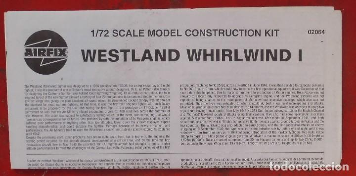 INSTRUCCIONES DE MONTAJE DEL WESTLAND WILRLWIND DE AIRFIX. ESCALA 1/72 (Juguetes - Modelismo y Radio Control - Maquetas - Aviones y Helicópteros)