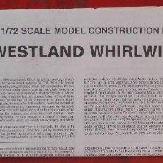 Maquetas: INSTRUCCIONES DE MONTAJE DEL WESTLAND WILRLWIND DE AIRFIX. ESCALA 1/72. Lote 262983000
