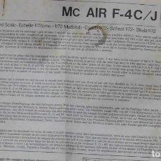 Maquetas: INSTRUCCIONES DE MONTAJE DEL MCDONNLL DOUGLAS F-4 C/J DE ESCI. ESCALA 1/72. Lote 263614490