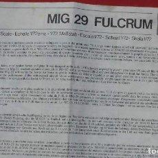 Maquetas: INSTRUCCIONES DE MONTAJE DEL MIG-29 DE ESCI. ESCALA 1/72. Lote 263614930