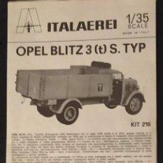 Maquettes: INSTRUCCIONES DE MONTAJE DEL OPEL BLITZ DE ITALERI. ESCALA 1/35. Lote 265140549
