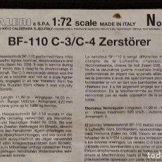 Maquetas: INSTRUCCIONES DE MONTAJE DEL MESSERSCHMITT BF.110 C-3/4 DE ITALERI. ESCALA 1/72. Lote 293851273