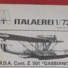 Maquetas: INSTRUCCIONES DE MONTAJE DEL CANT Z-501 DE ITALERI. ESCALA 1/72. Lote 293851278